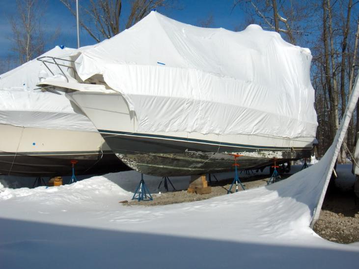 Winterized boat
